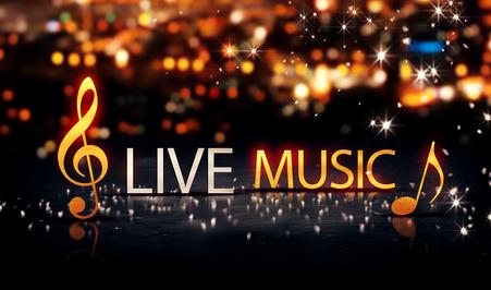 Live Music Gold Silver City Bokeh Star Shine Yellow Background